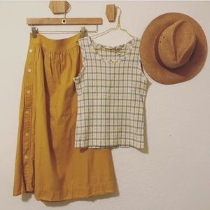 Vintage plaid smocked tank